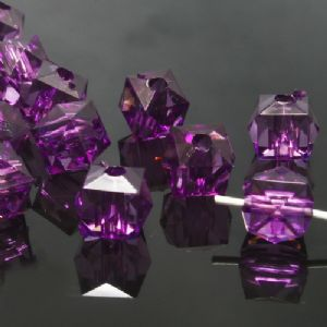 Beads, Imitation Crystal beads, Acrylic, Dark purple, Faceted Cubes, 8mm x 8mm, 12g, 50 Beads, (SLZ0377)